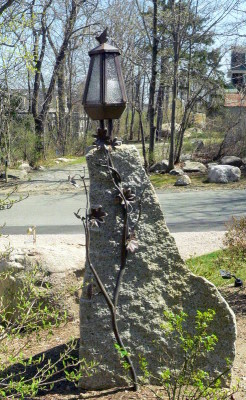 lantern on stone