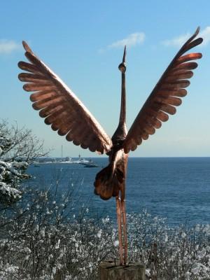 stork in snow